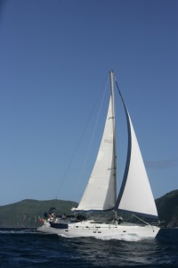 Chao Lay sailing along the coast of Grenada