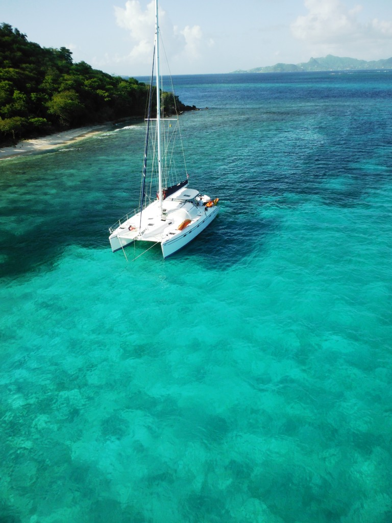 View from the mast in Tobago Cays | Grenada Bluewater Sailing