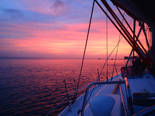 Sunset on a skippered sailing holiday in the Caribbean with Grenada Bluewater Sailing