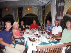 Antigua Sailing Week - Crew having dinner in Antigua