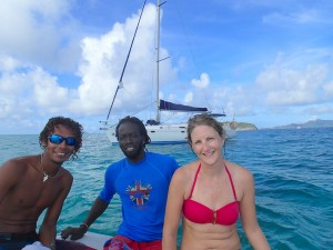Students on sailing courses in the Tobago Cays