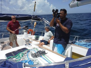 Taking sun sights on an ocean passage for Yachtmaster Ocean.