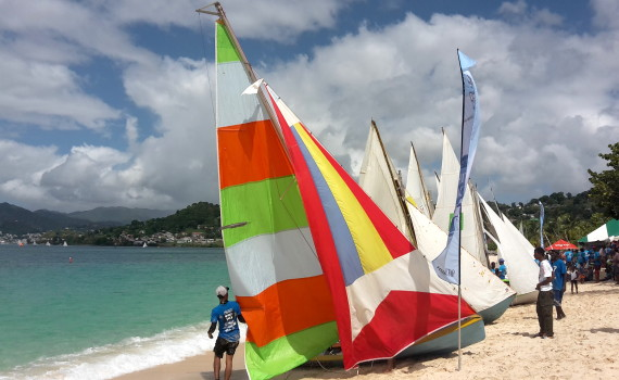 Boats line Grand Anse beach for Grenada Sailing Festival 2016